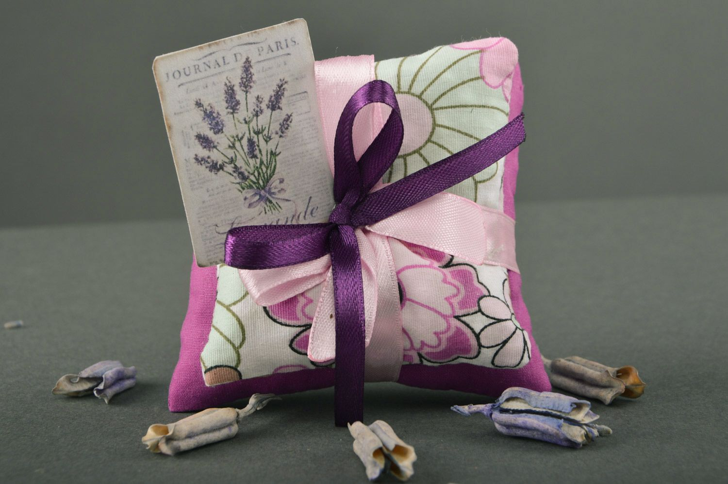 Tender handmade sachet pillows sewn of fabric with ribbons with mint Lilac  photo 1