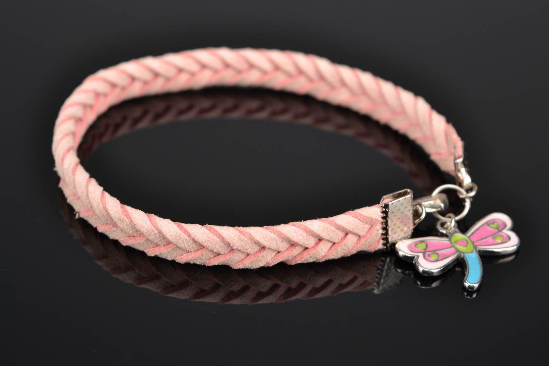 Pink natural suede bracelet for girls photo 1