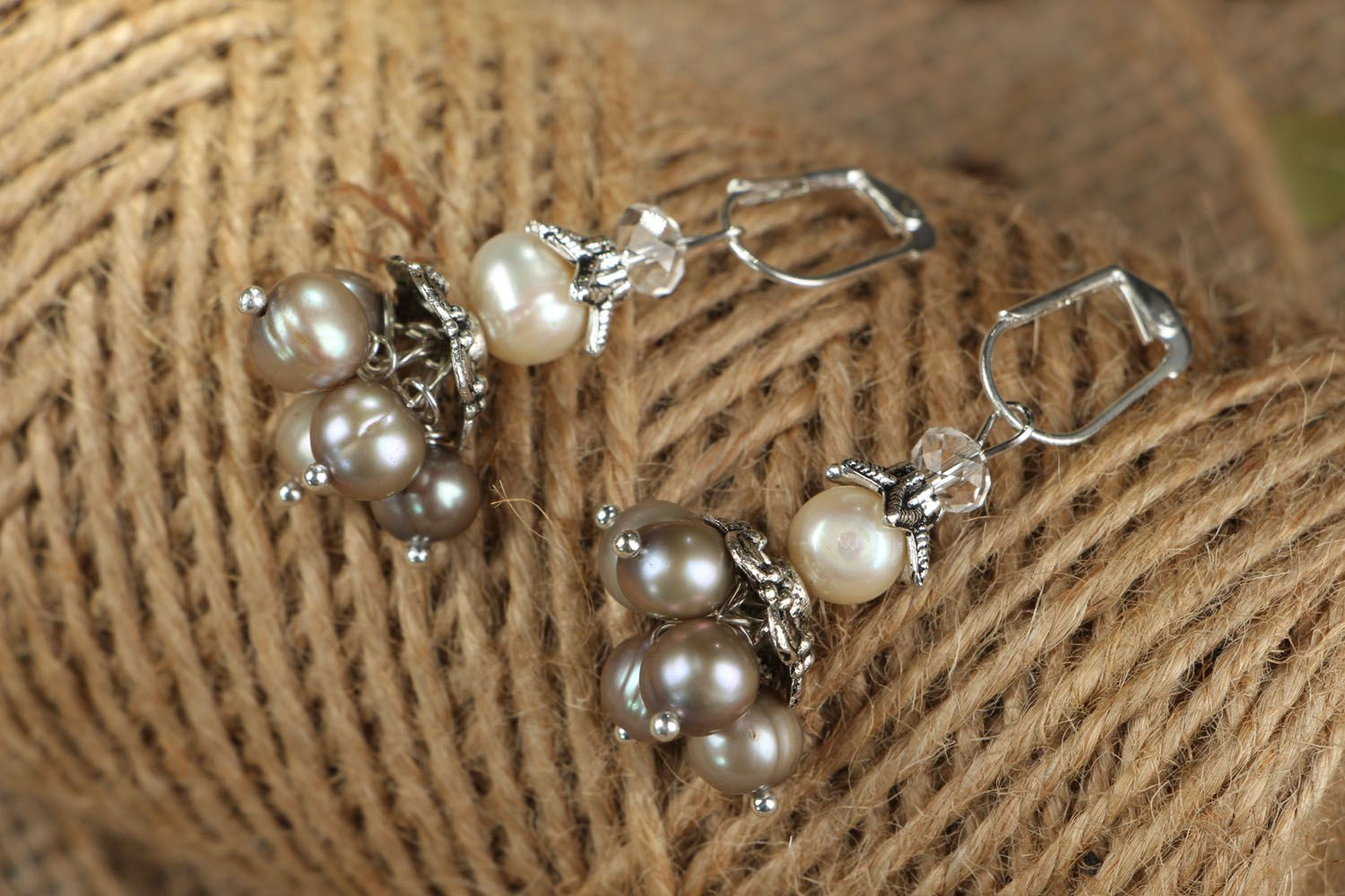 Earrings with whire river pearls photo 4