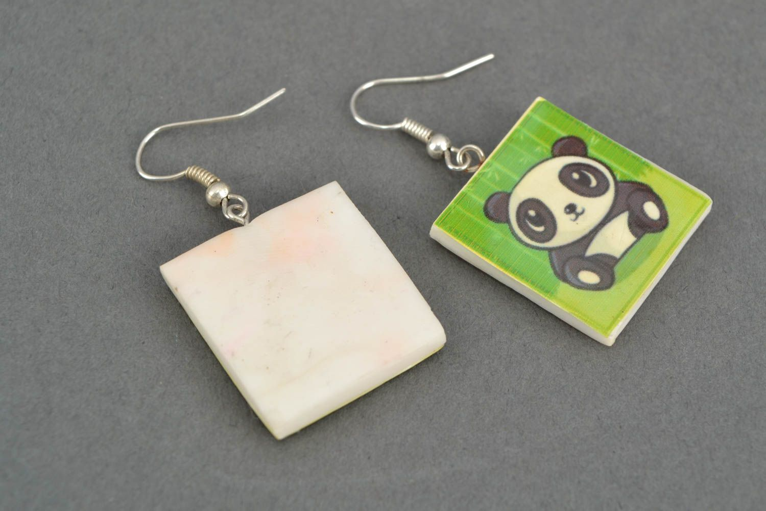 Polymer clay earrings with panda image photo 4