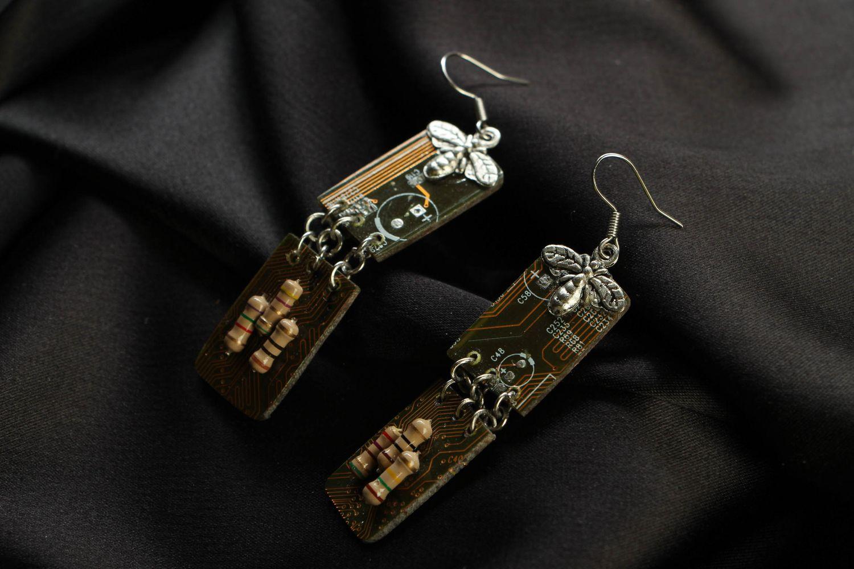 steampunk earrings Cyberpunk long earrings - MADEheart.com