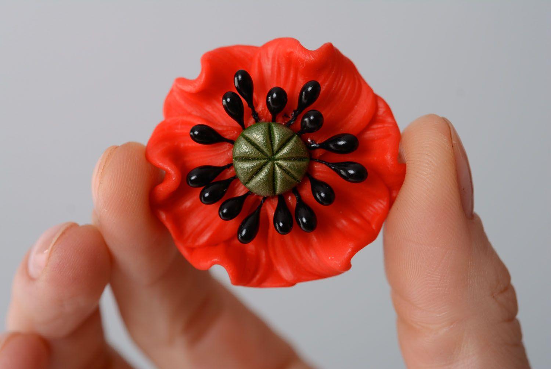 Blumen Brosche aus Polymerton foto 4