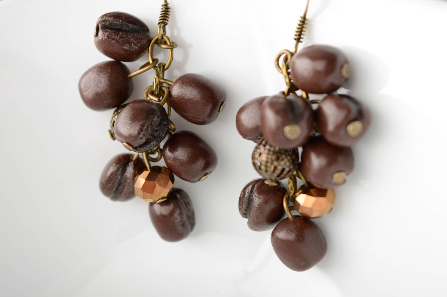 Polymer clay earrings Coffee Beans photo 3