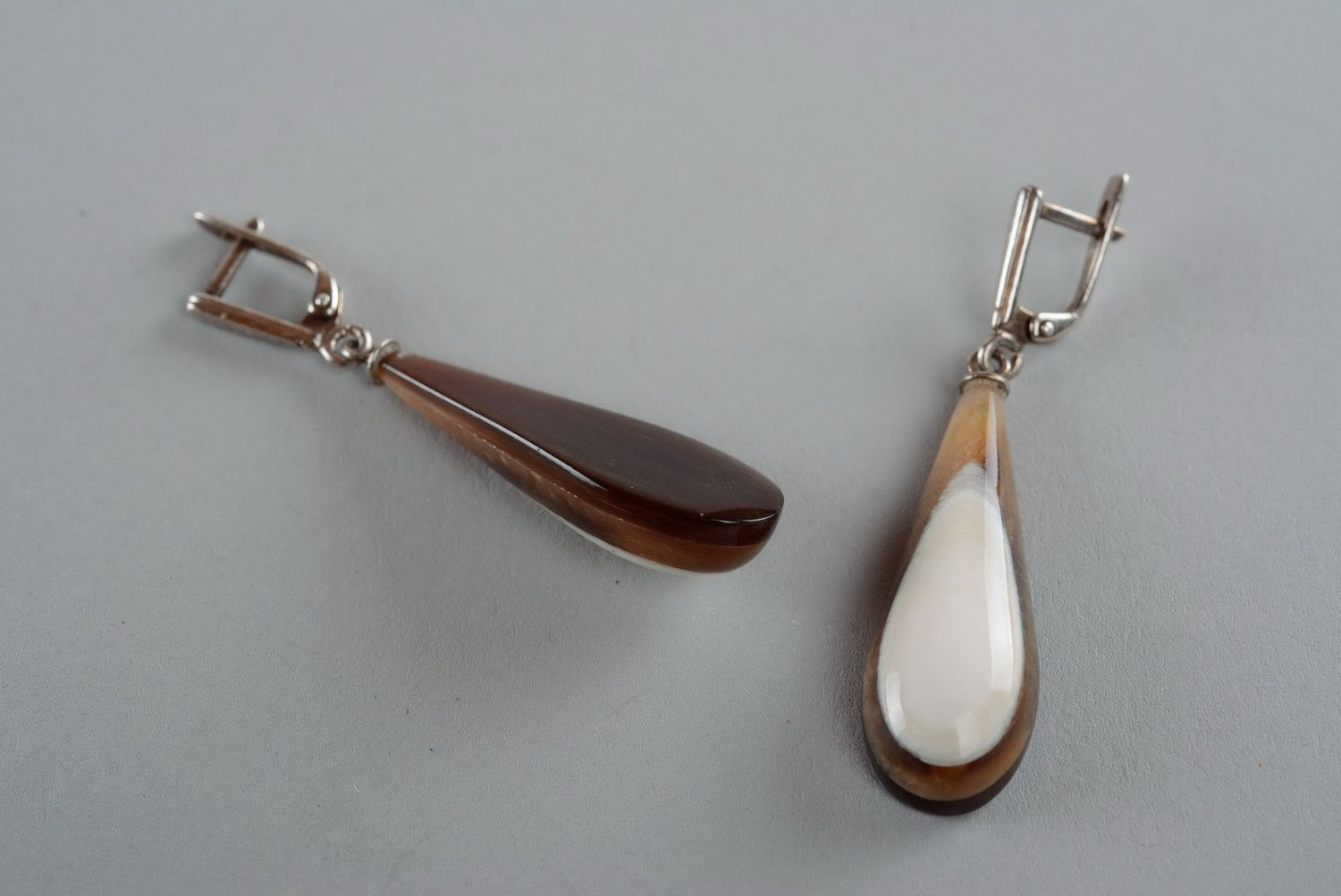 dangle earrings Silver earrings with a cow horn - MADEheart.com