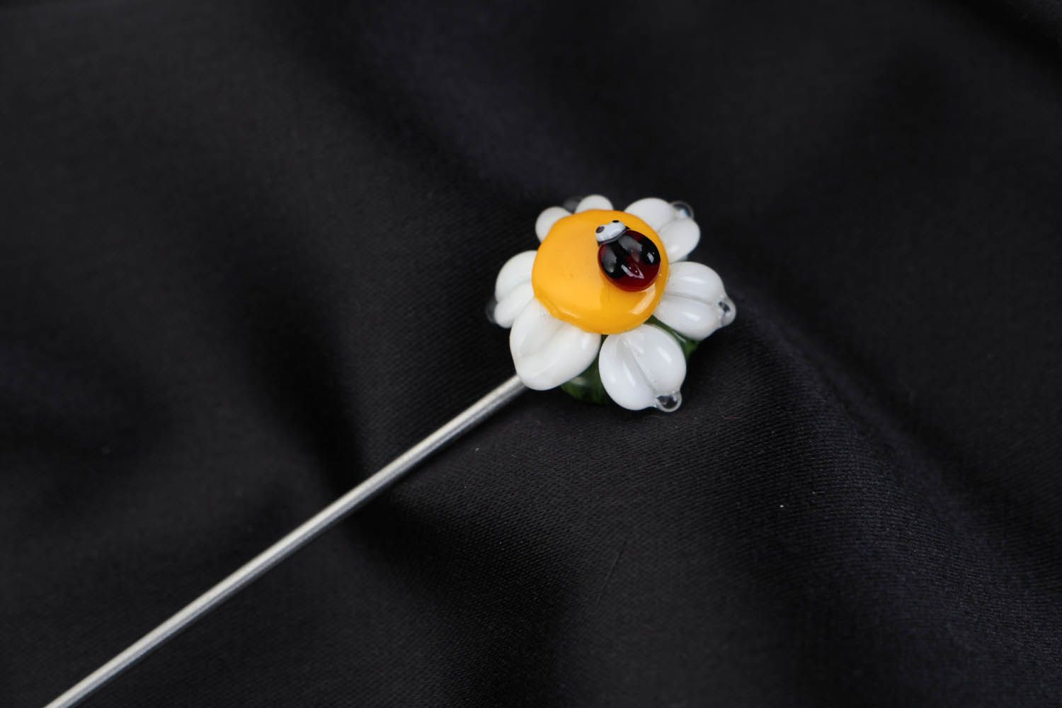 Lampwork brooch Camomile with Ladybird photo 3