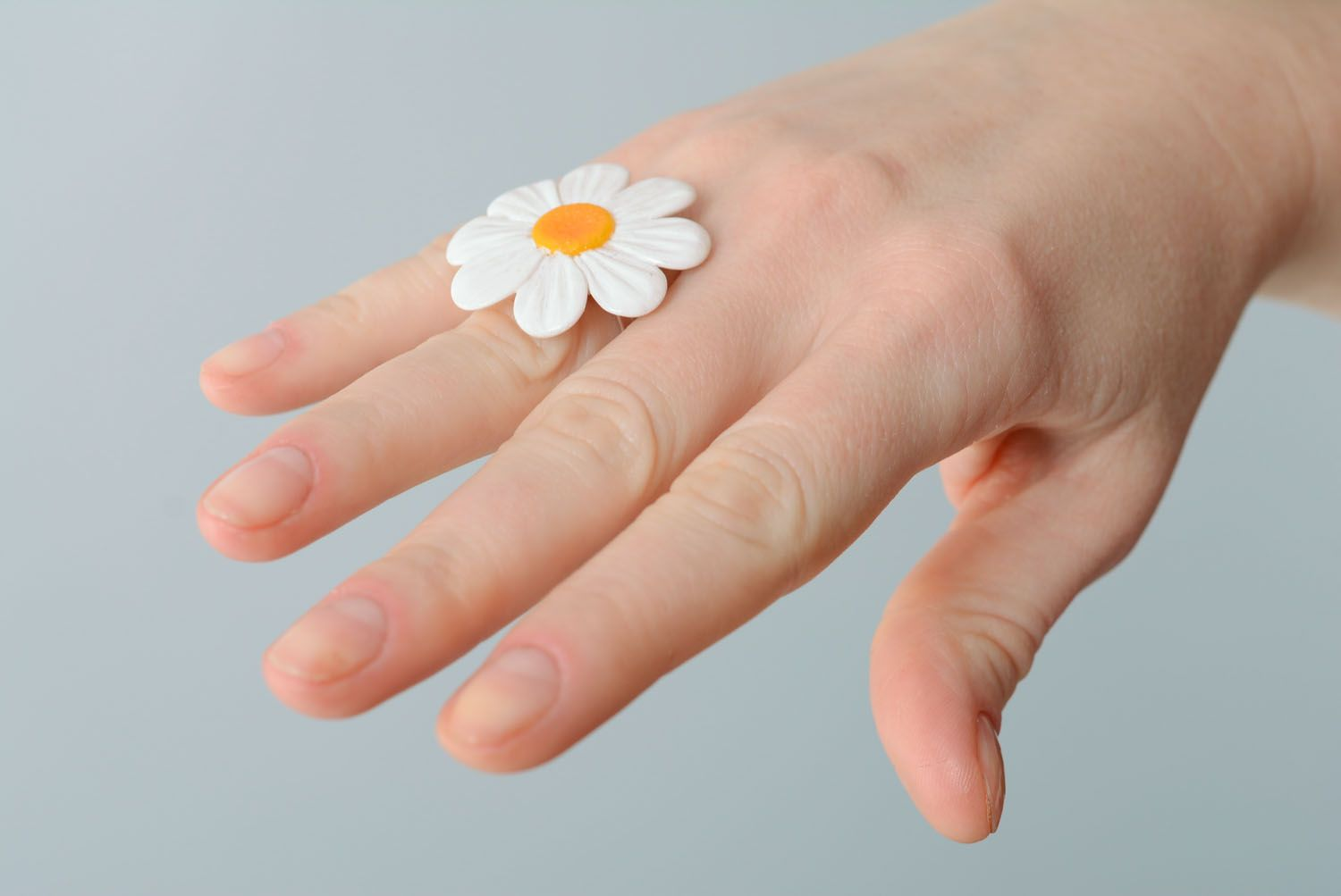 Polymer clay flower ring photo 2