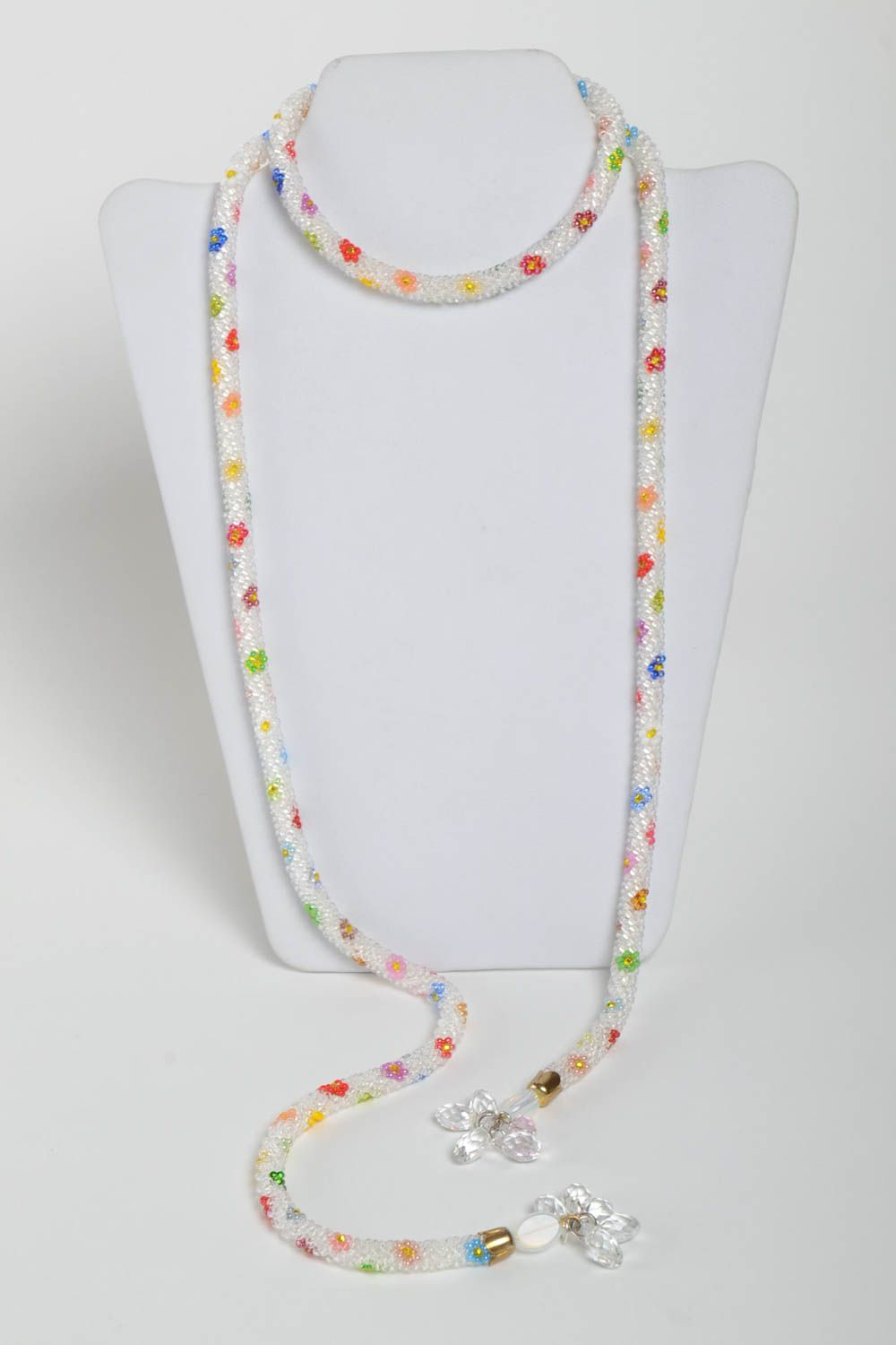 Colorful handmade beaded cord necklace long necklace for women gifts for her photo 3