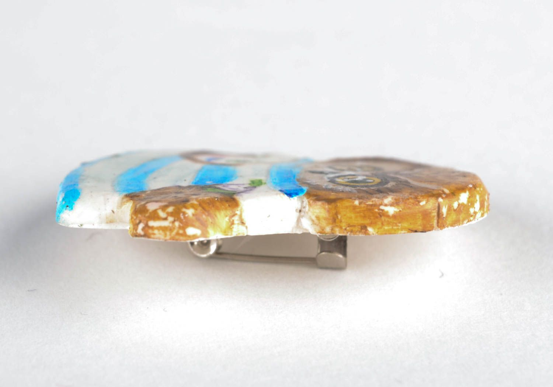 Женская брошь из полимерной глины Совушка фото 3