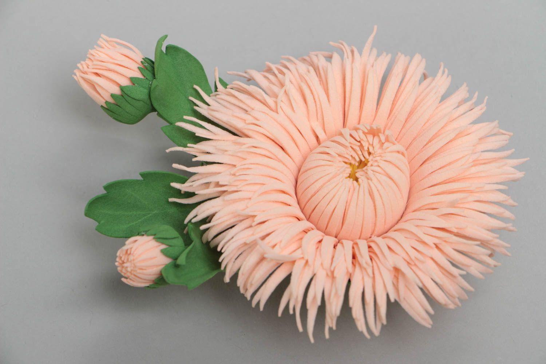 Handmade designer brooch hair clip with foamiran aster flower of pink color photo 2
