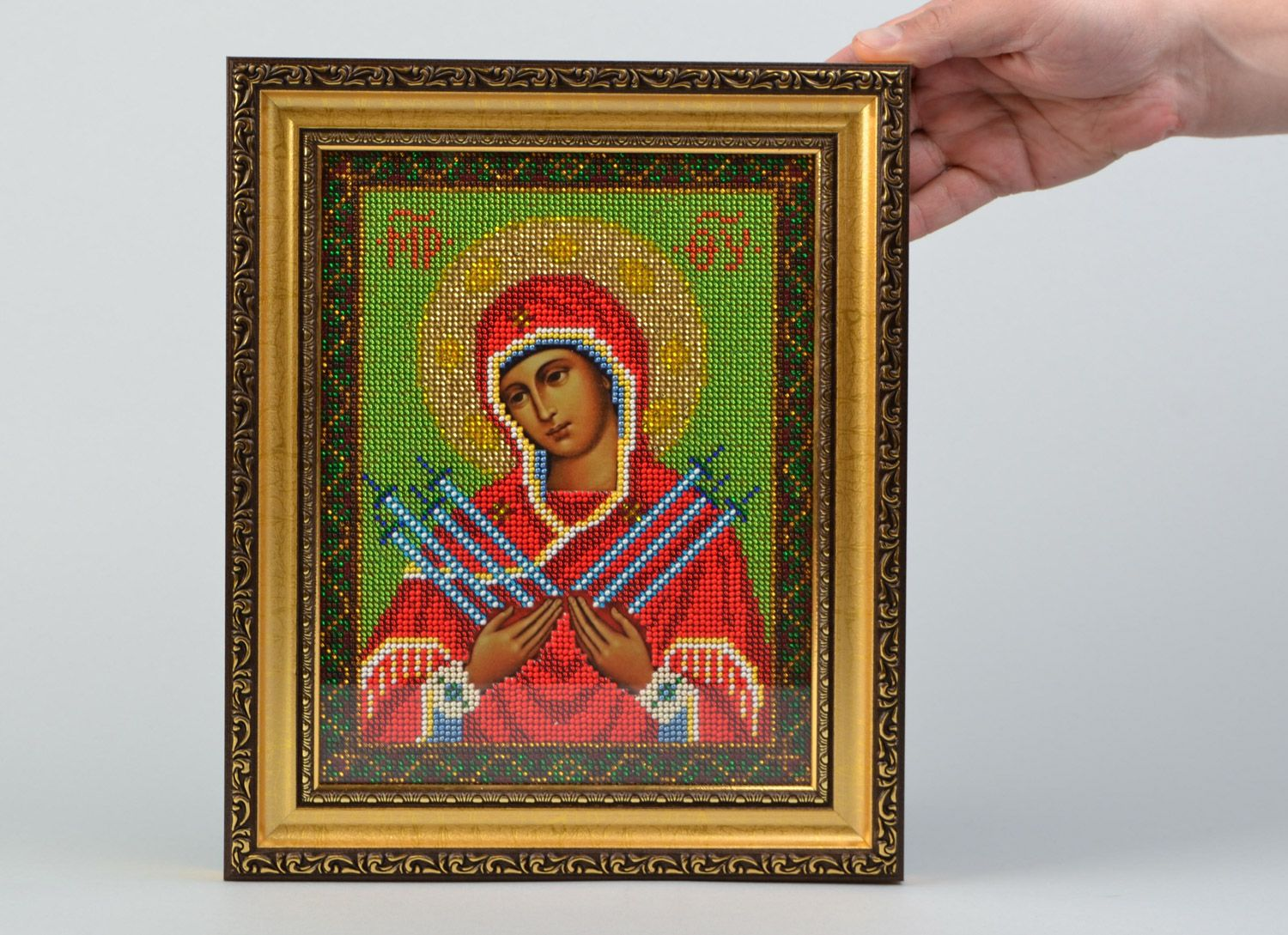 Handmade icon of the Mother of God of Ostrobram embroidered with beads in frame photo 2