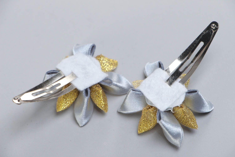 Set of 2 handmade satin ribbon flower hair clips for girls photo 4
