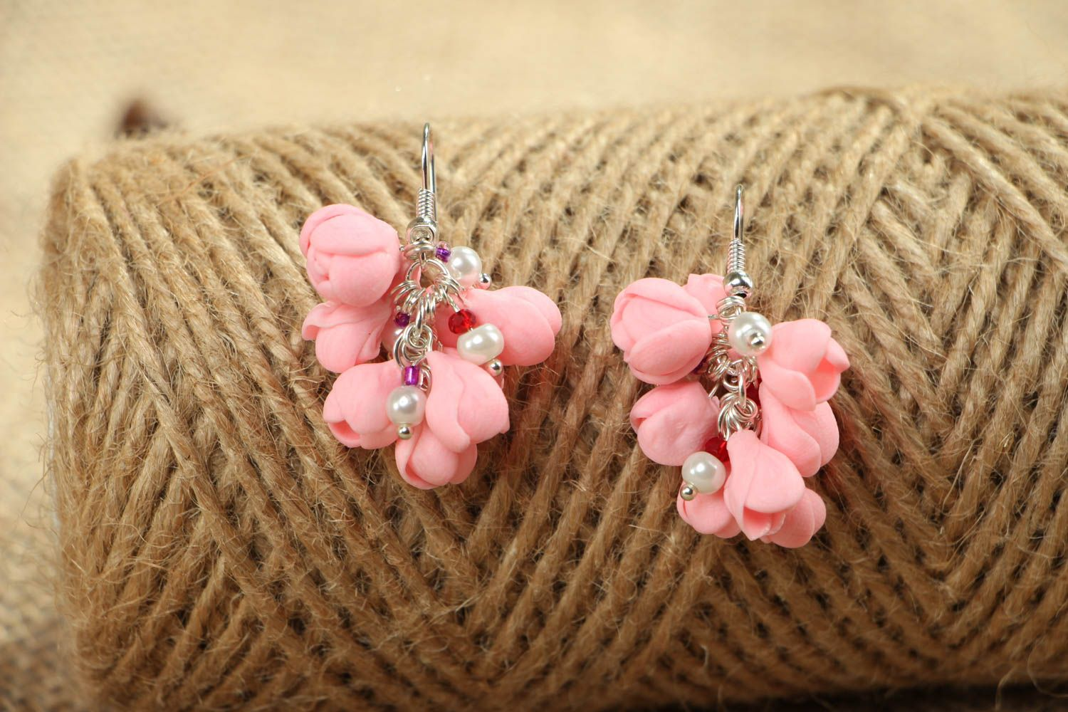 Pink plastic earrings photo 4