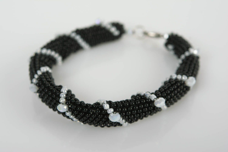 Handmade beaded cord wrist bracelet of white and black colors for women photo 1