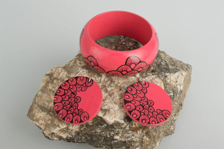 Handmade jewelry set dangling earrings womens bracelet wooden accessories photo 1