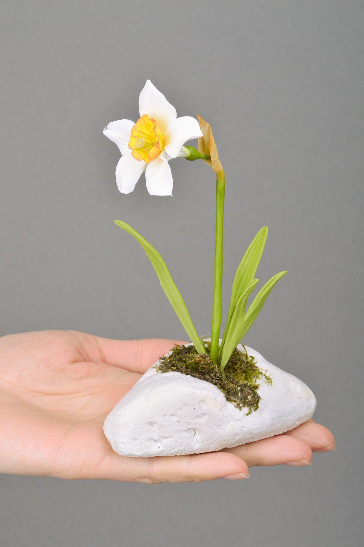 Handmade designer decorative white narcissus flower molded of polymer clay  photo 5