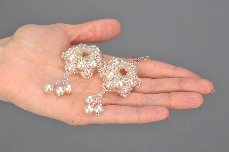 Crystal bead earrings Tenderness photo 2