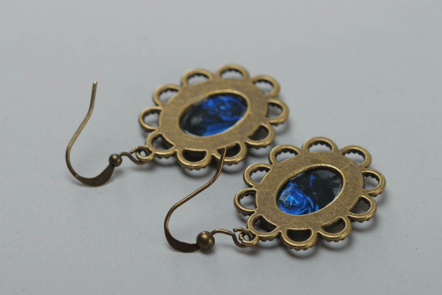 Women's beautiful handmade glass glaze oval earrings with roses photo 4