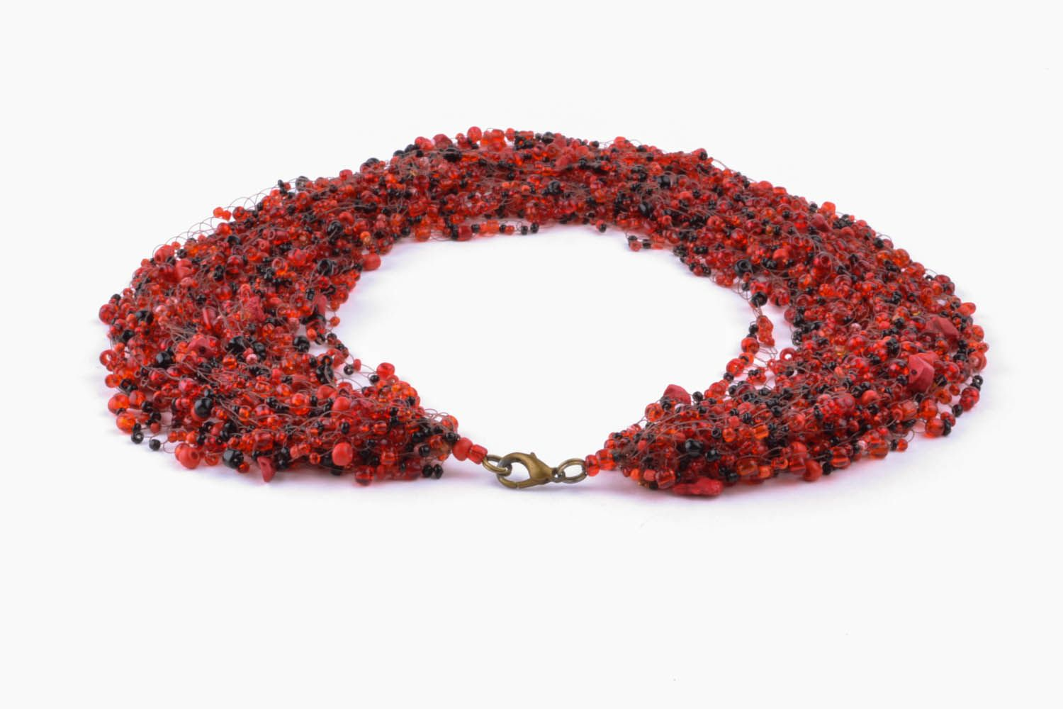 Red and black necklace made of beads and natural stones photo 4
