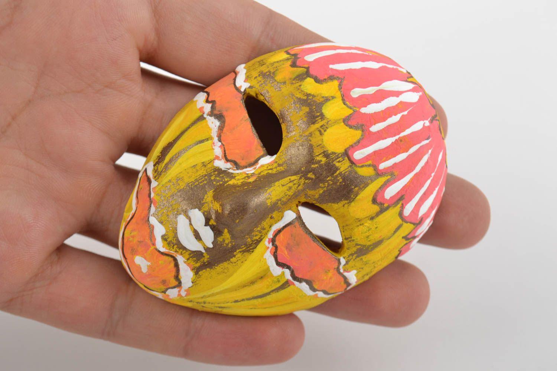 Bright handmade designer ceramic fridge magnet souvenir carnival mask photo 2
