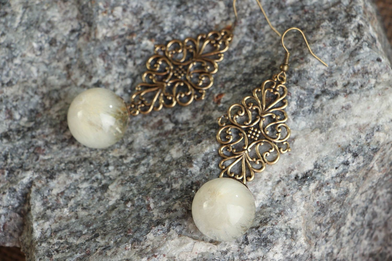 resin dry flower earrings Long Earrings with Dandelions - MADEheart.com