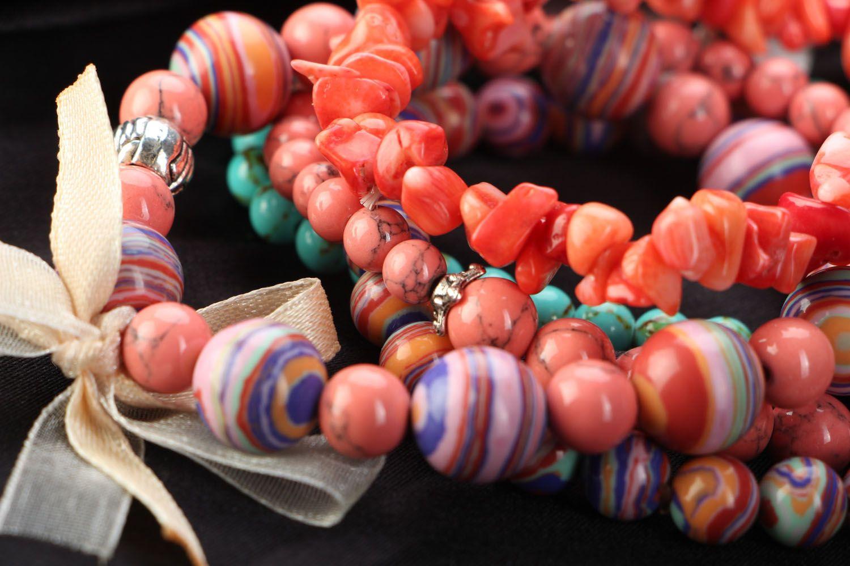 Комплект браслетов из 5 штук коралловый фото 2