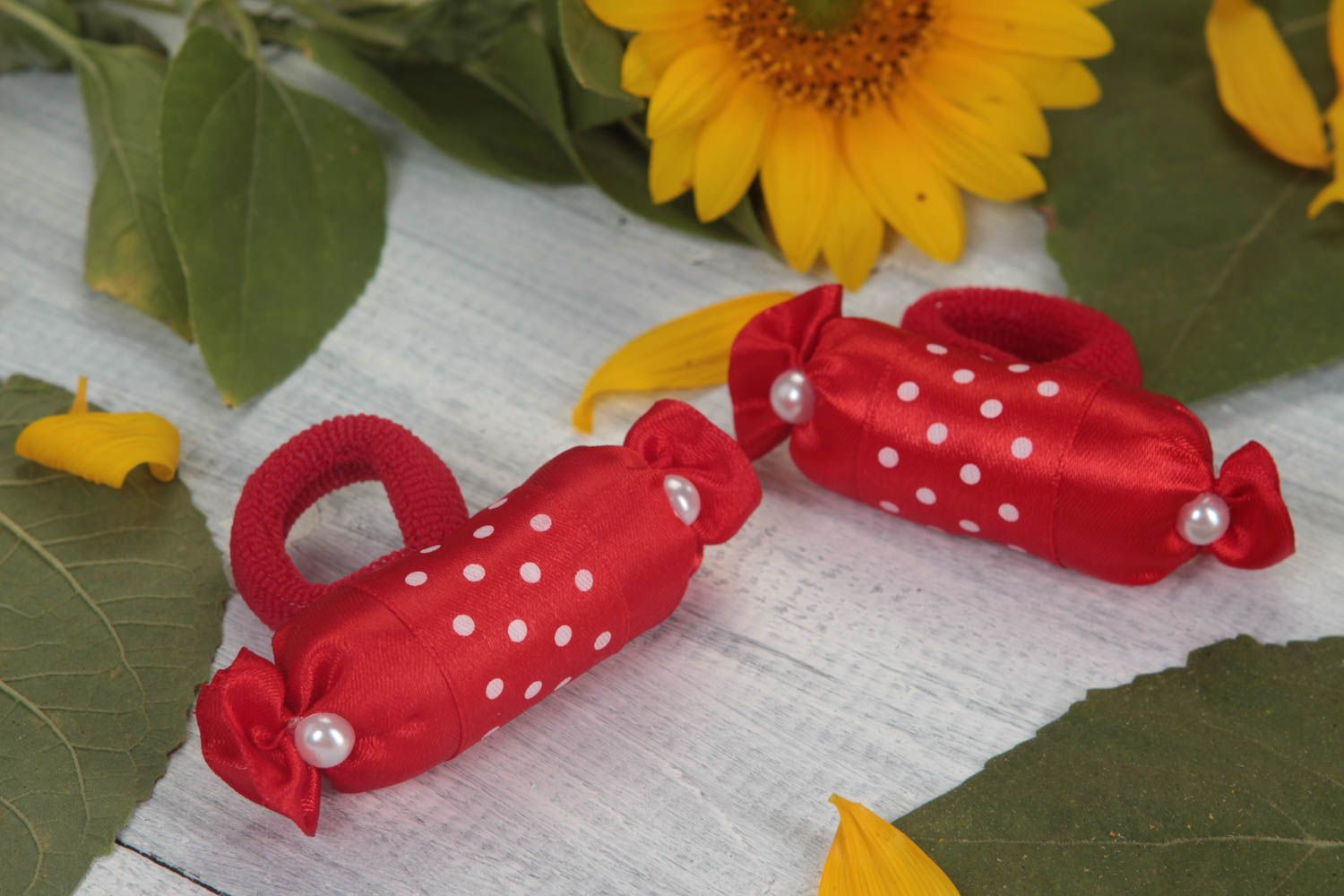 Set of 2 girls hair accessories hair ties hair scrunchies candy jewelry  photo 1