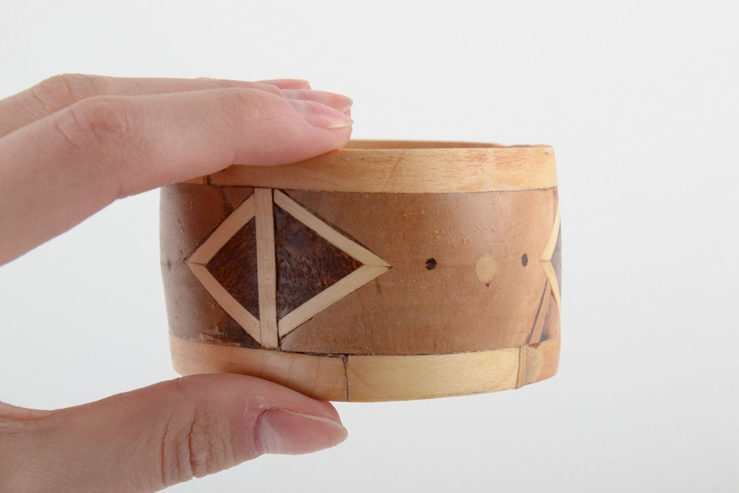 Broad handmade wooden wrist bracelet with geometric ornament with intarsia  photo 5
