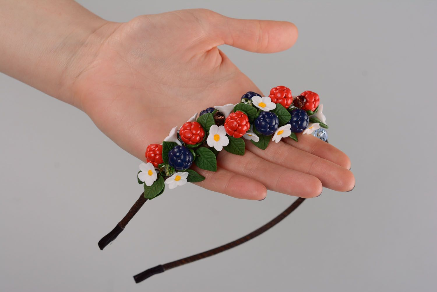 Handmade plastic headband Wild Berries photo 4