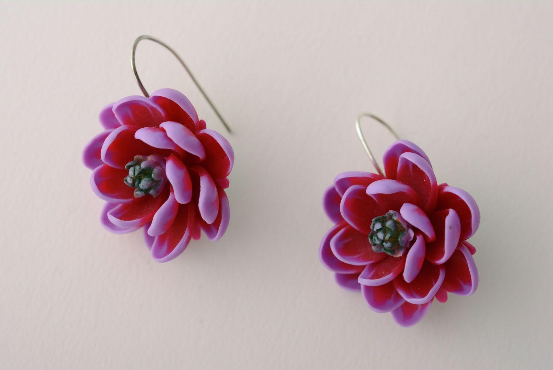 Polymer clay earrings Violet Lotus photo 1