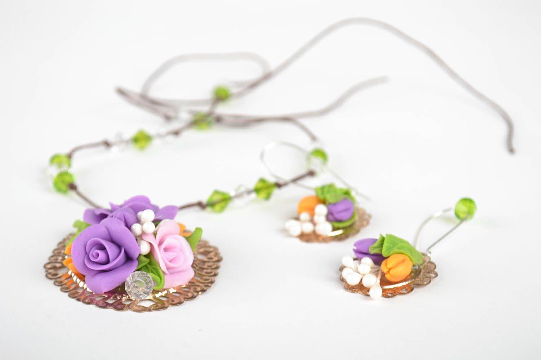 Jewelry set flower jewelry handmade earrings pendant necklace fashion jewelry photo 4