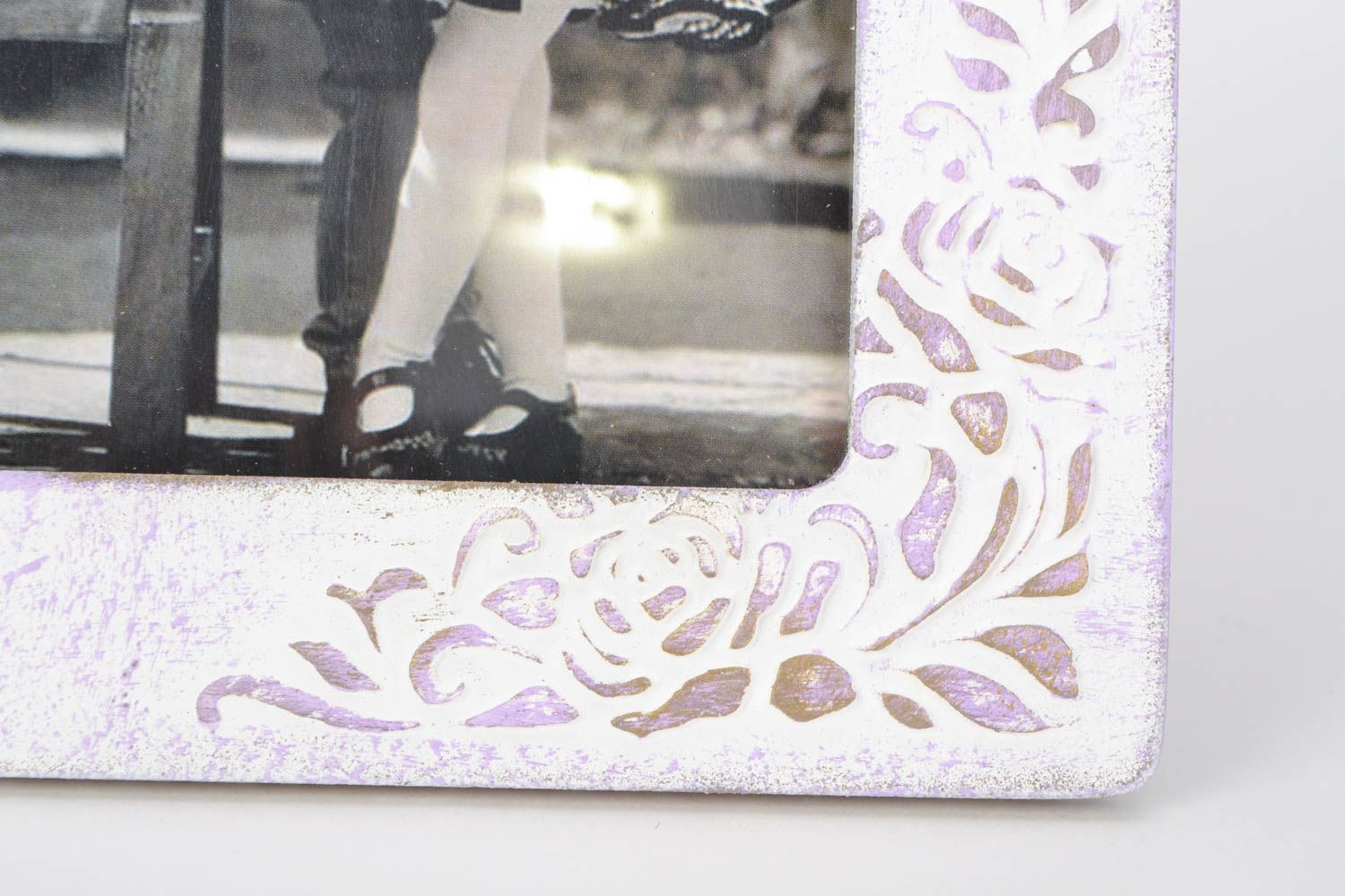 Unusual handmade light plywood photo frame with pattern photo 4