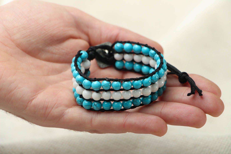 Blau weißes Armband mit Achat und Türkis foto 4