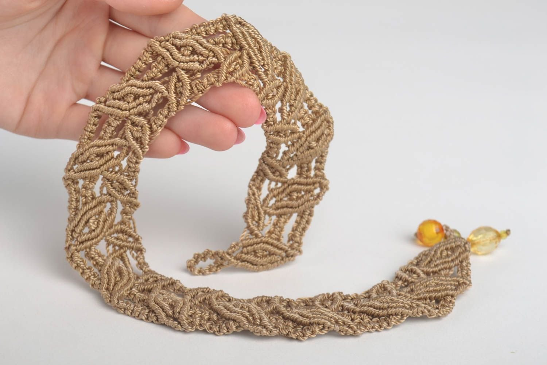 Beautiful brown necklace stylish textile accessory handmade designer nekcace photo 5