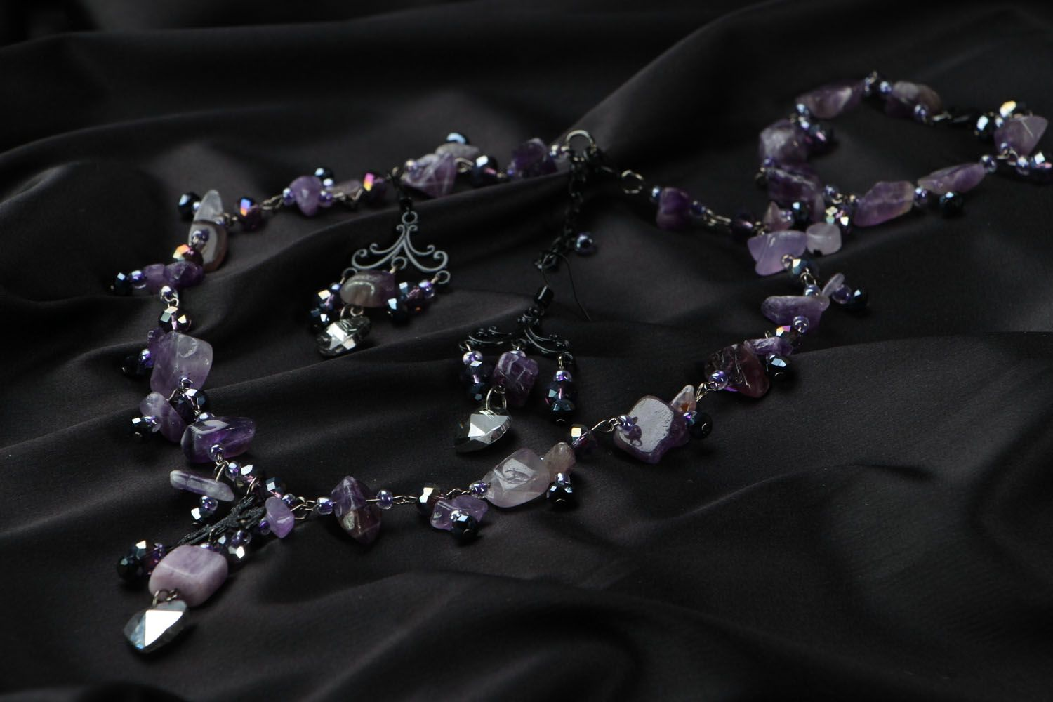Jewelry set with amethyst and crystal photo 2