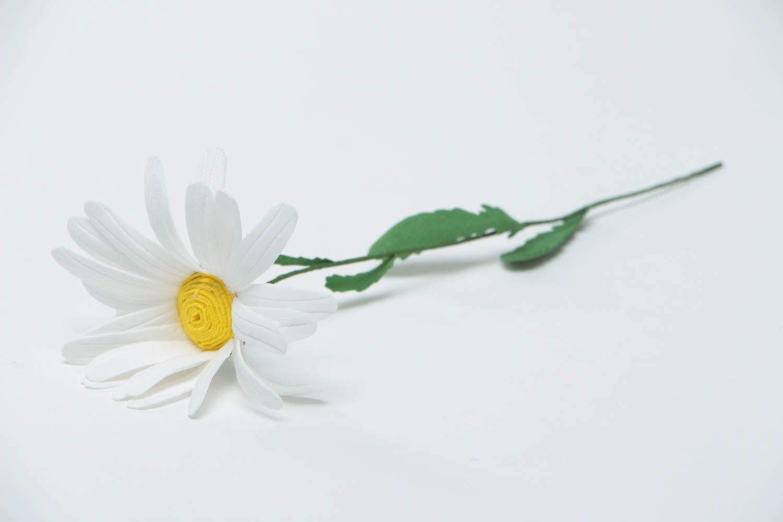 Unusual handmade decorative flower created of plastic suede Camomile photo 2