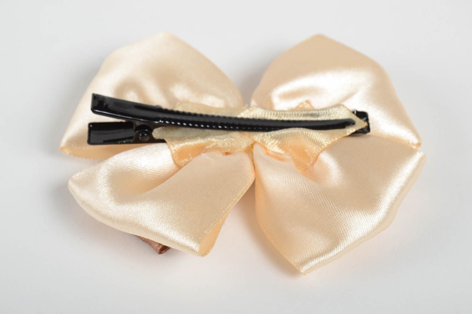 Handmade unusual hair clip accessory in shape of bow stylish satin hair clip photo 3