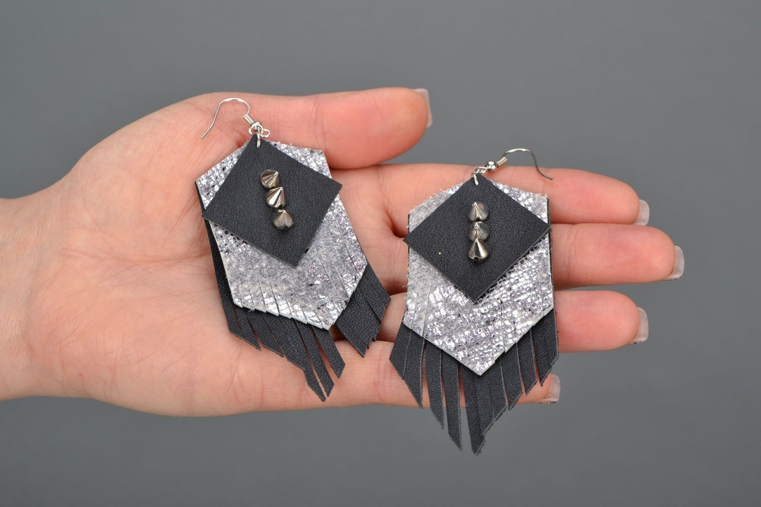 Leather earrings with studs  photo 2
