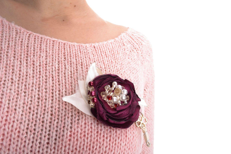 Stoff Brosche Blume foto 3