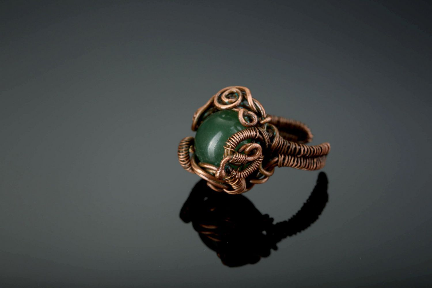 Copper ring with nephrite photo 1