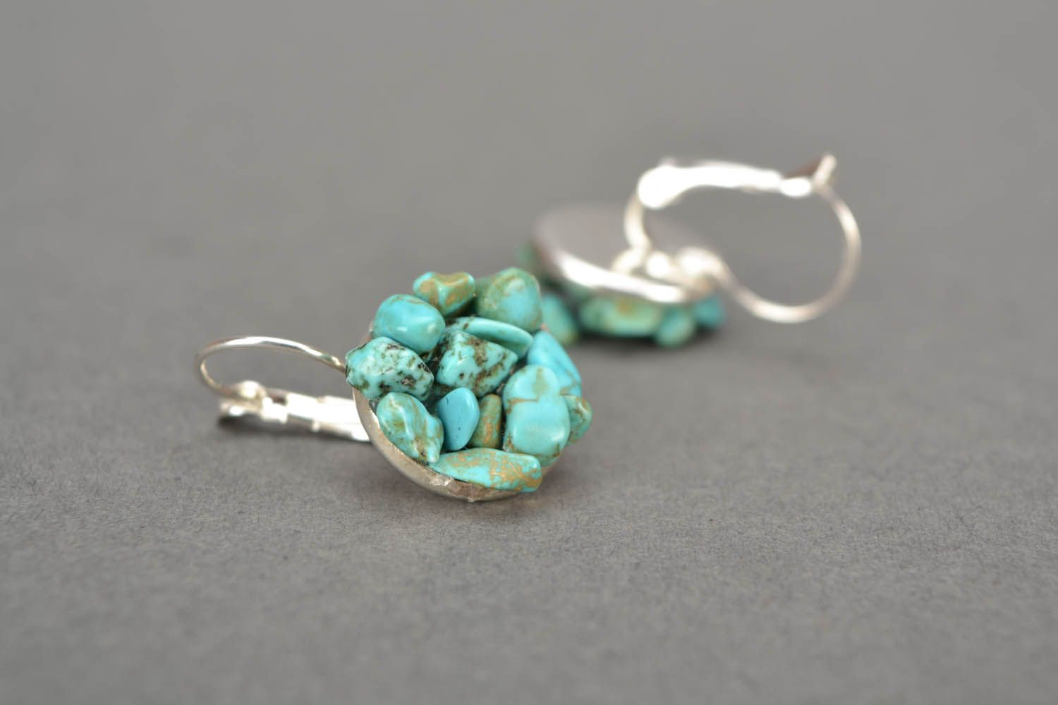 Handmade turquoise earrings photo 4