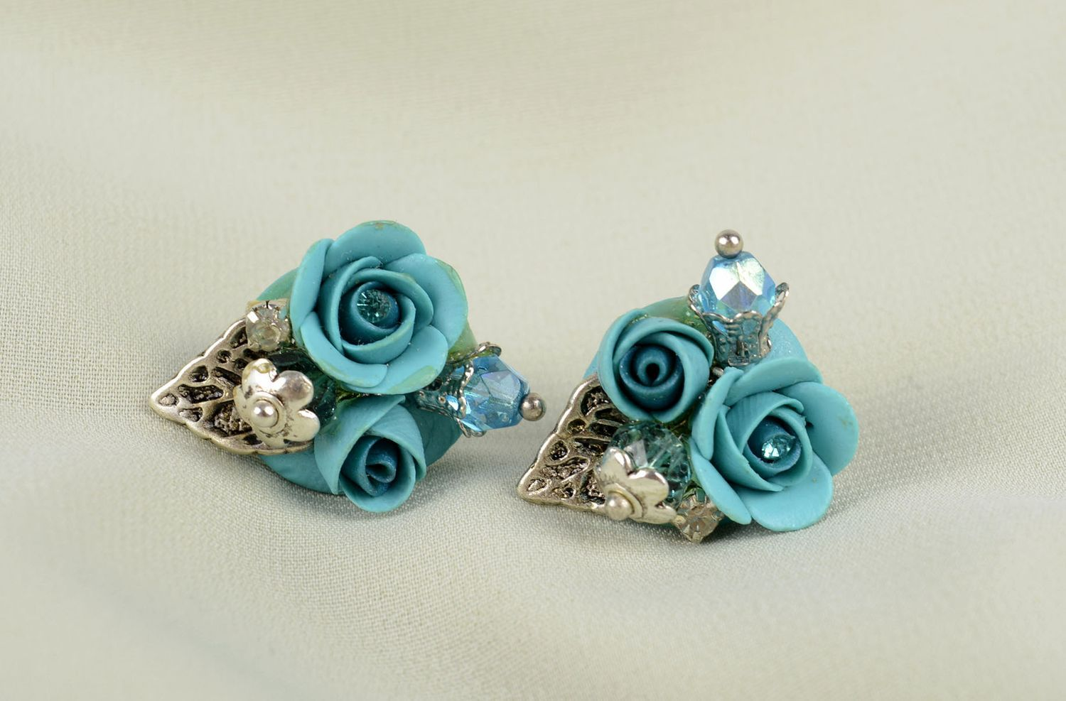 Handmade stud earrings polymer clay accessories plastic earrings with flowers photo 5