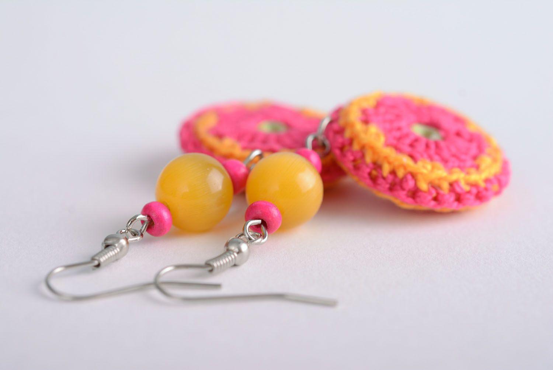 Homemade crocheted over earrings photo 3