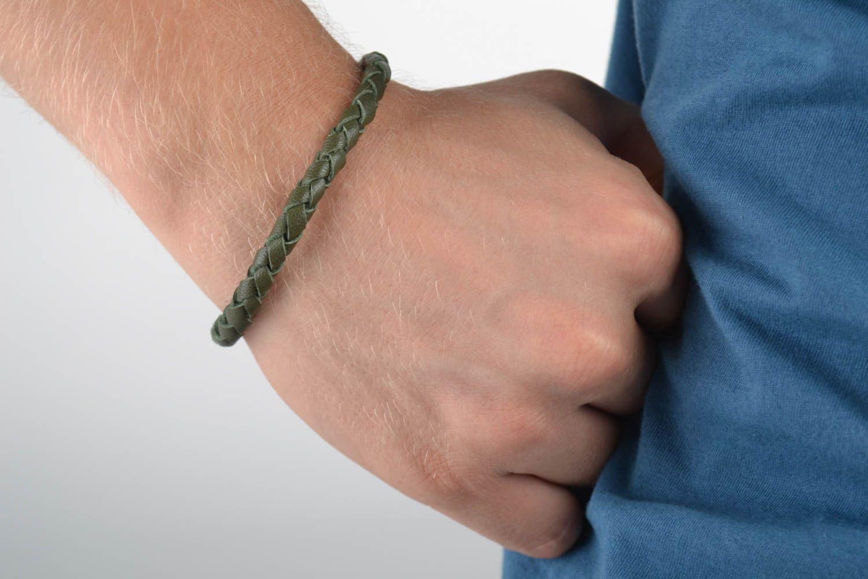 pulseras de cuero Pulsera de cuero artesanal verde estrecha accesorio para hombre regalo original , MADEheart