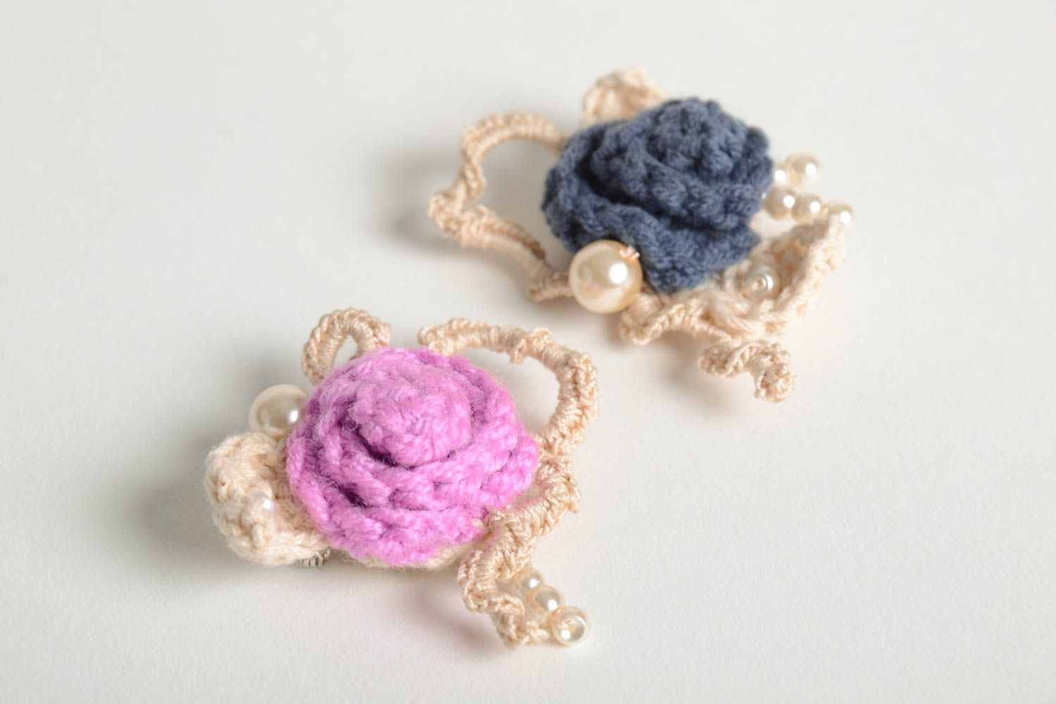 Crochet brooch handmade brooches textile jewelry designer accessories for girls photo 2