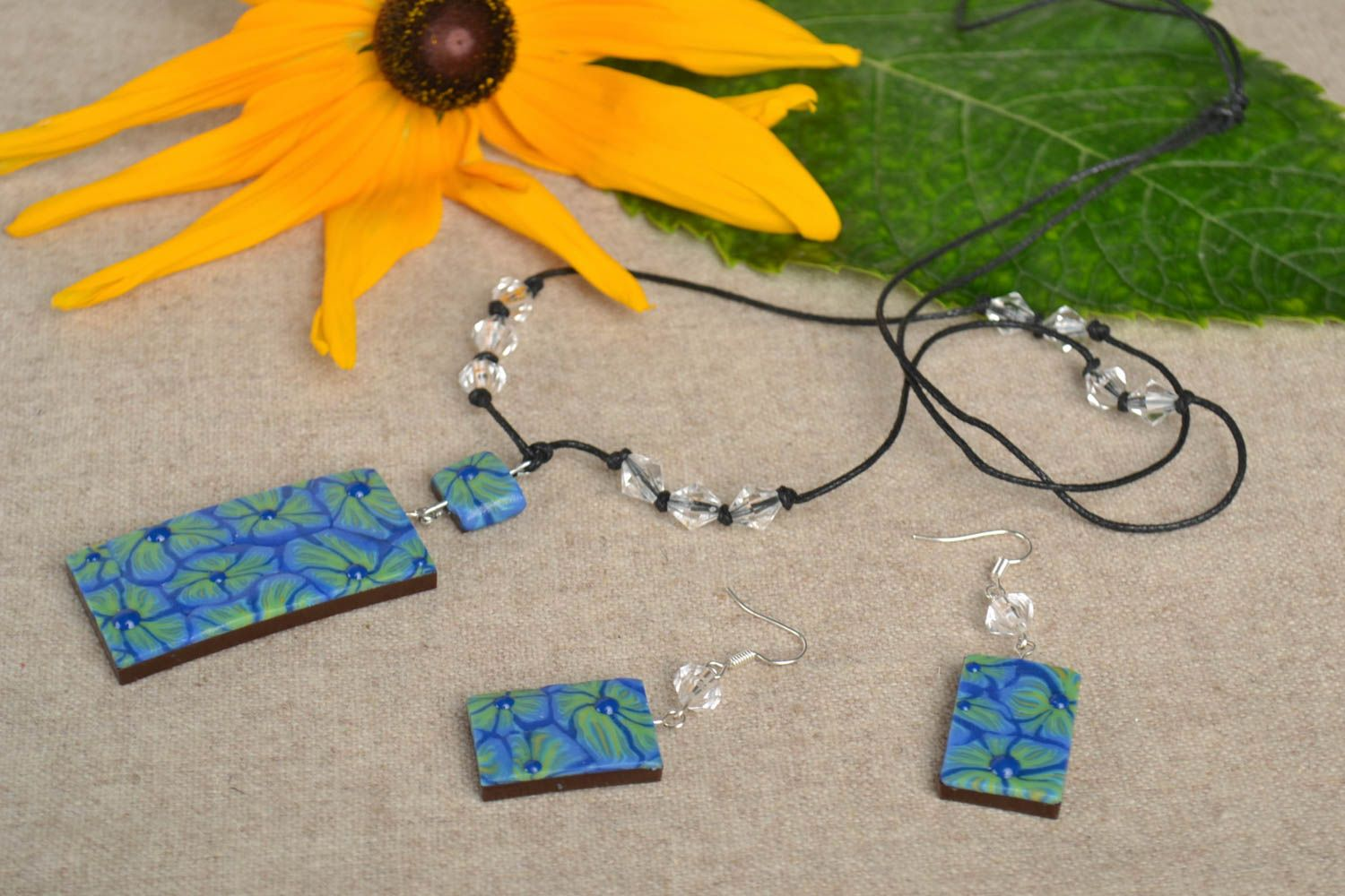 Handmade set of polymer clay jewelry unique designer accessories for woman photo 1