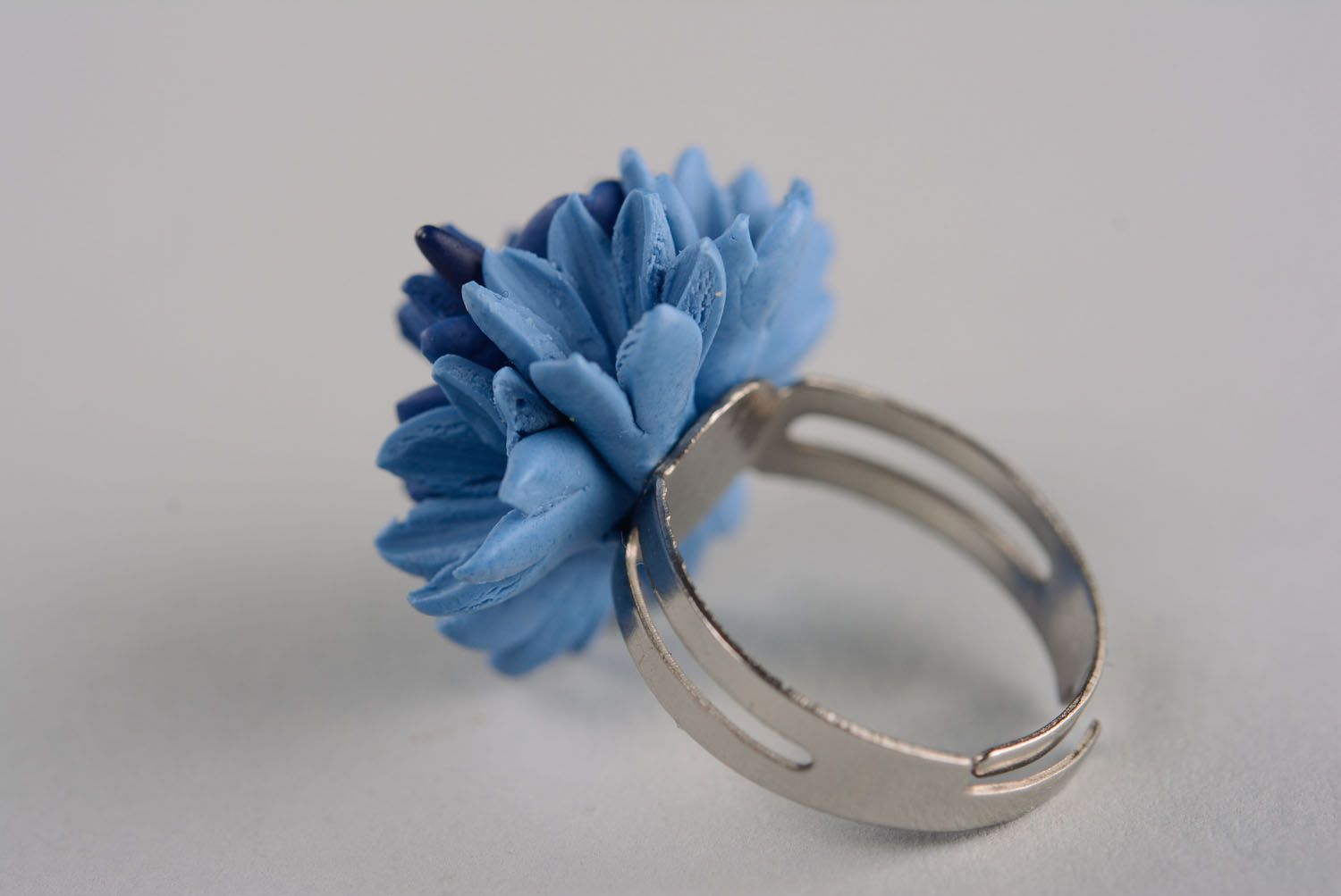 Homemade plastic ring Cornflower photo 5