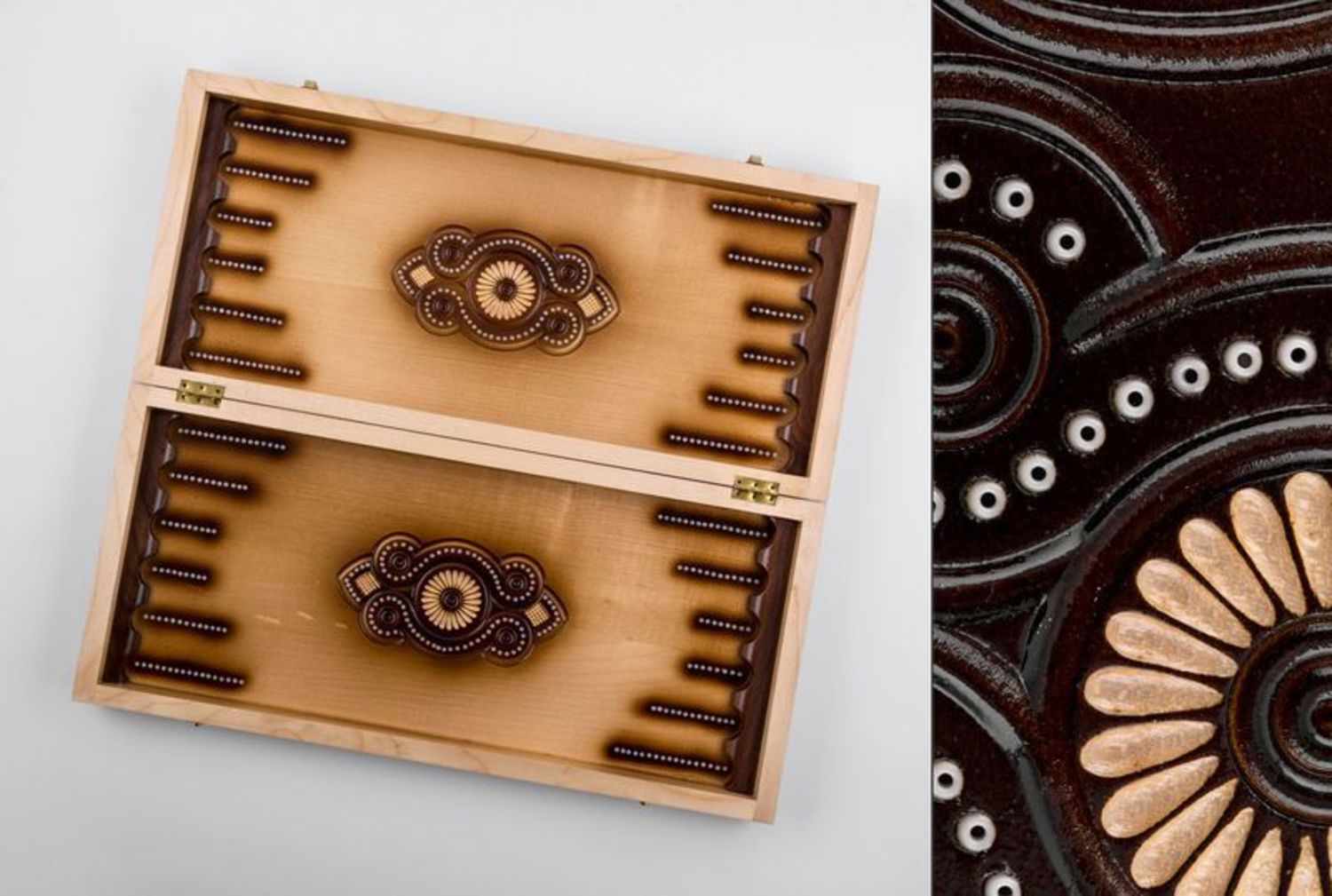 Wooden carved backgammon photo 3