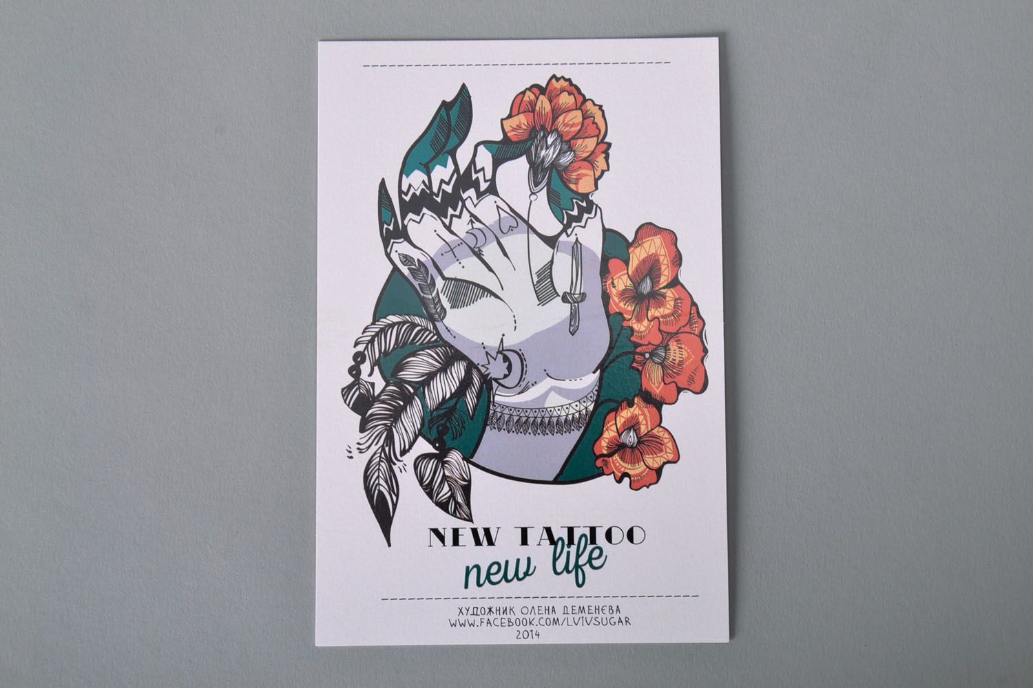 Greeting card with designer drawing New Tattoo photo 2