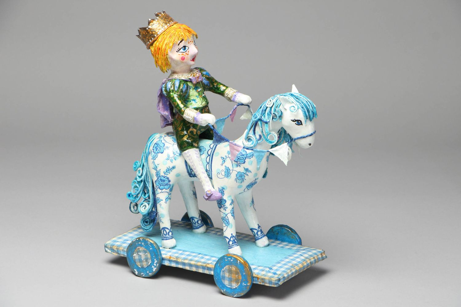 Paper mache figurine Prince on White Horse photo 1