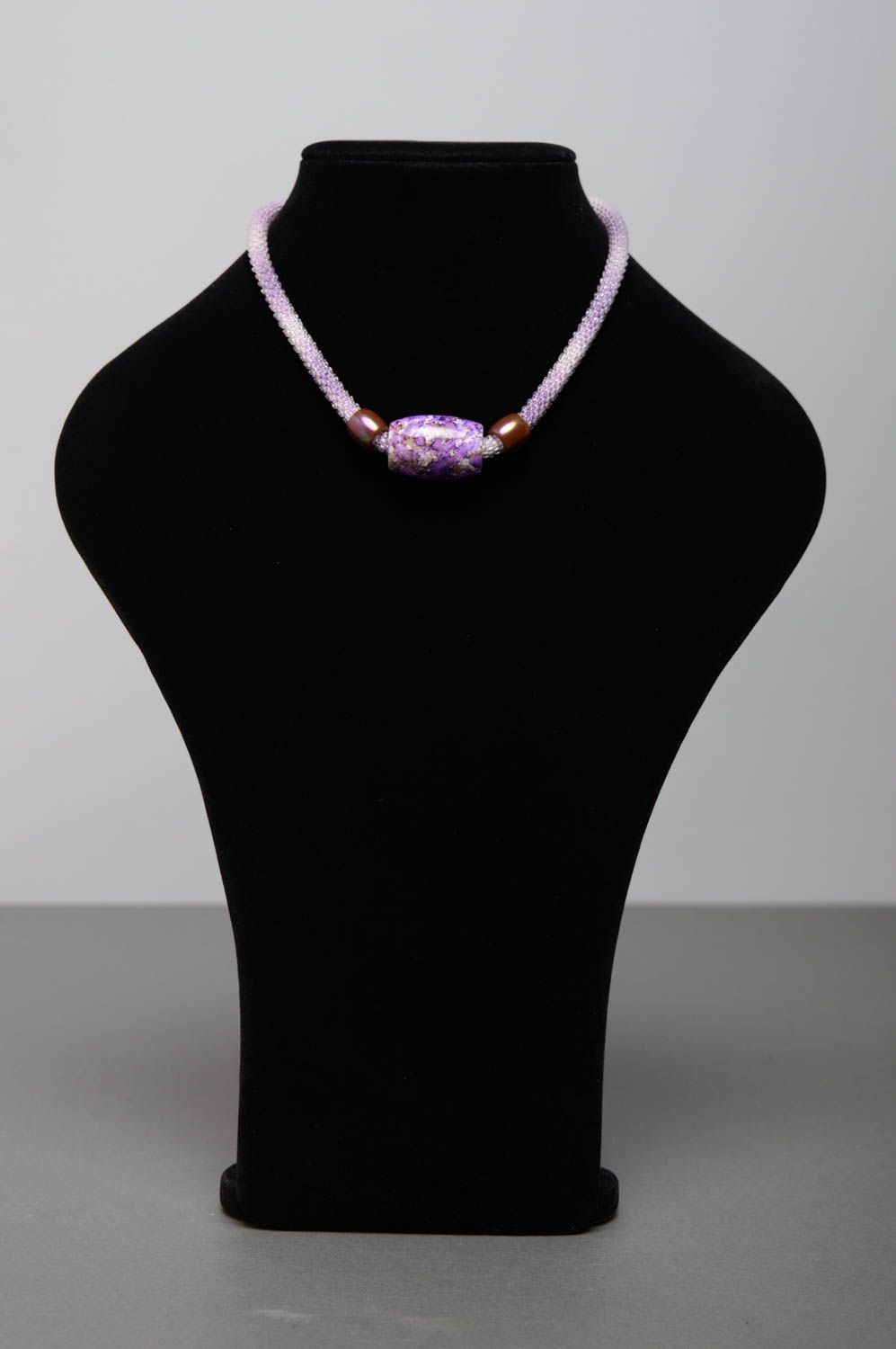 Violet beaded cord necklace photo 3